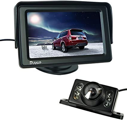 """4.3/"""" TFT LCD Car Monitor Mini Wired Car Parking Reverse Back Up Camera Kit CCD"""