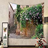 Gzhihine Custom tapestry Landscape Tapestry Summer Garden Flowers Marigold Stones Antique Ancient House in Spain Art Print for Bedroom Living Room Dorm 60 W X 40 L Multicolor