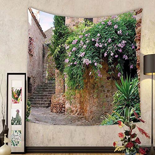 Gzhihine Custom tapestry Landscape Tapestry Summer Garden Flowers Marigold Stones Antique Ancient House in Spain Art Print for Bedroom Living Room Dorm 60 W X 40 L Multicolor by Gzhihine