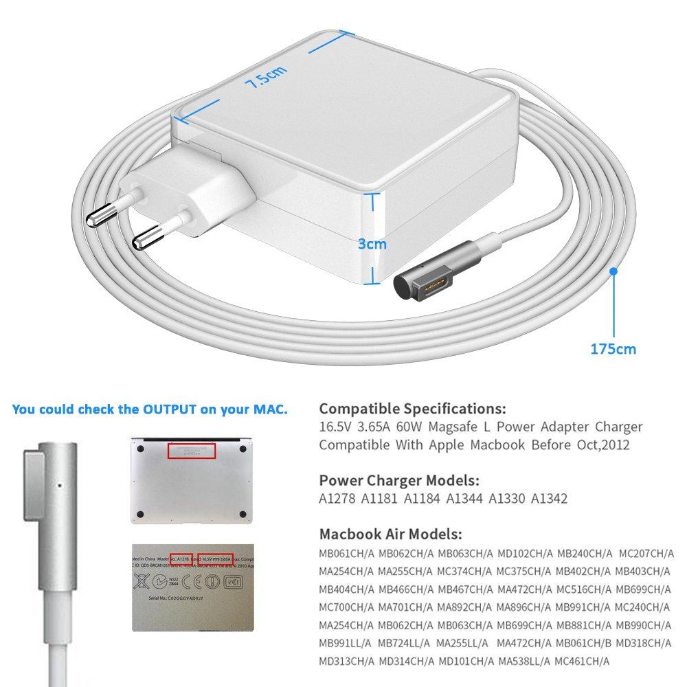 bossgo Cargador Macbook Pro Adaptador de Corriente MagSafe 1 60W para MacBook Pro y MacBook Forma de L para Macbook Pro 13