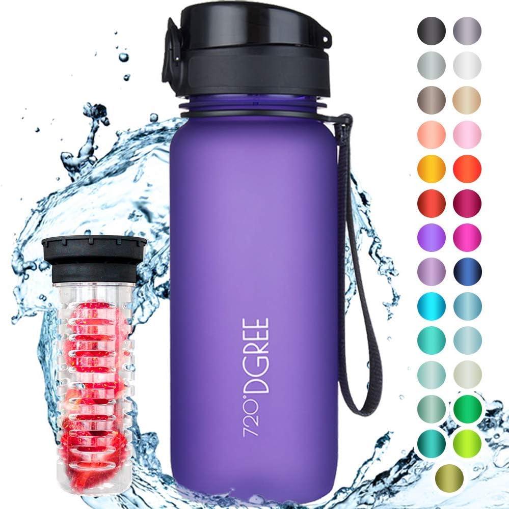 """720°DGREE Botella de Agua """"uberBottle"""" – 650ml   Impermeable y Reutilizable   para Beber Ideal para niños, Deporte, Escuela   Sin BPA   con Inserto de Fruta"""