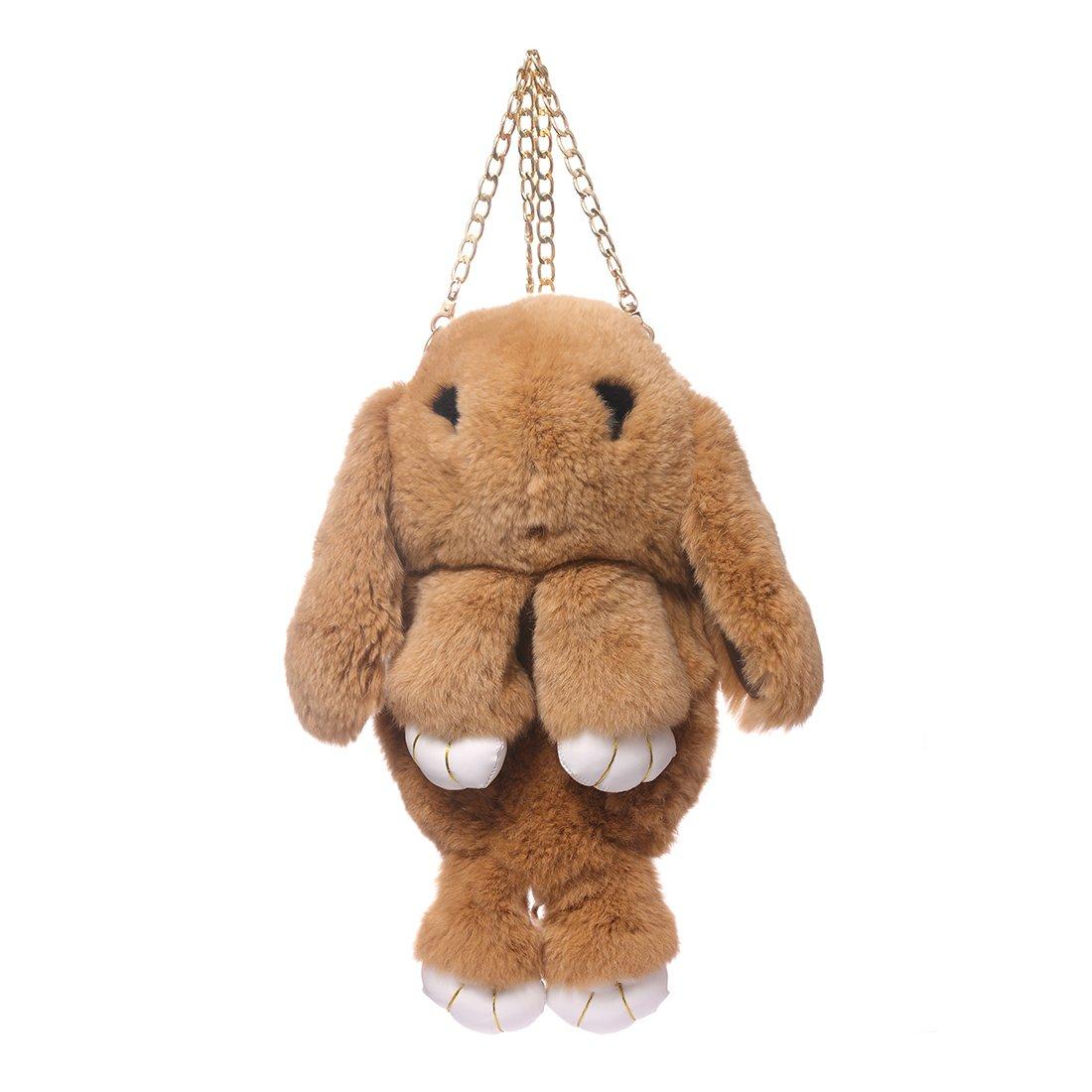 URSFUR Kids Bunny Hare Backpack Rabbit Fur Shoulder Bags Plush Doll Knapsack Toy camel