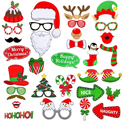 Christmas Photo Booth Props Kit Pack of 32, DIY Christmas Decorations Party Favors Supplies New Years for Children Birthday, Pose Sign Santa Claus Deer Horn Hat Glasses Moustache Red Lips Clown