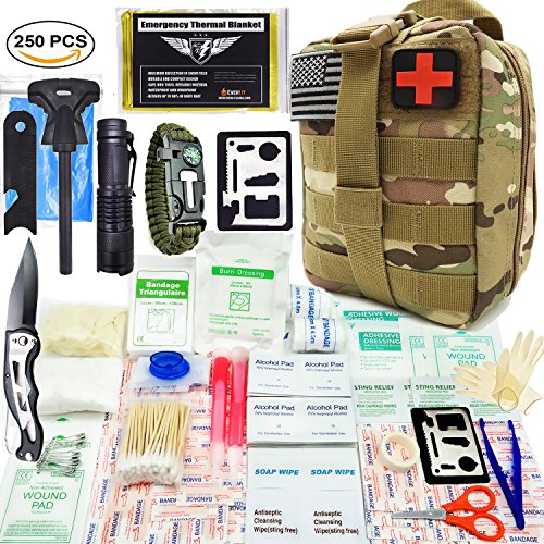 Emergency First Aid Kit - EVERLIT 250 Pieces Survival First Aid Kit IFAK Molle System Compatible Survival Emergency Kit Bag for Camping Hunting Car Earthquake