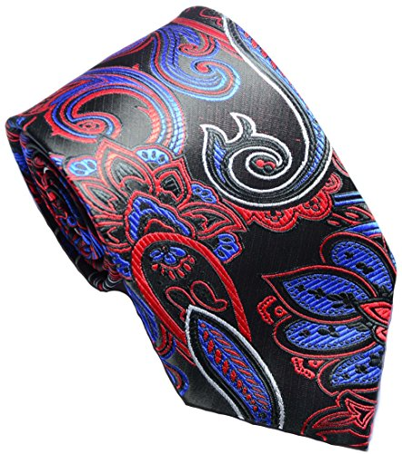 New Classic Paisley Black Red Blue JACQUARD WOVEN Silk Men's Tie Necktie