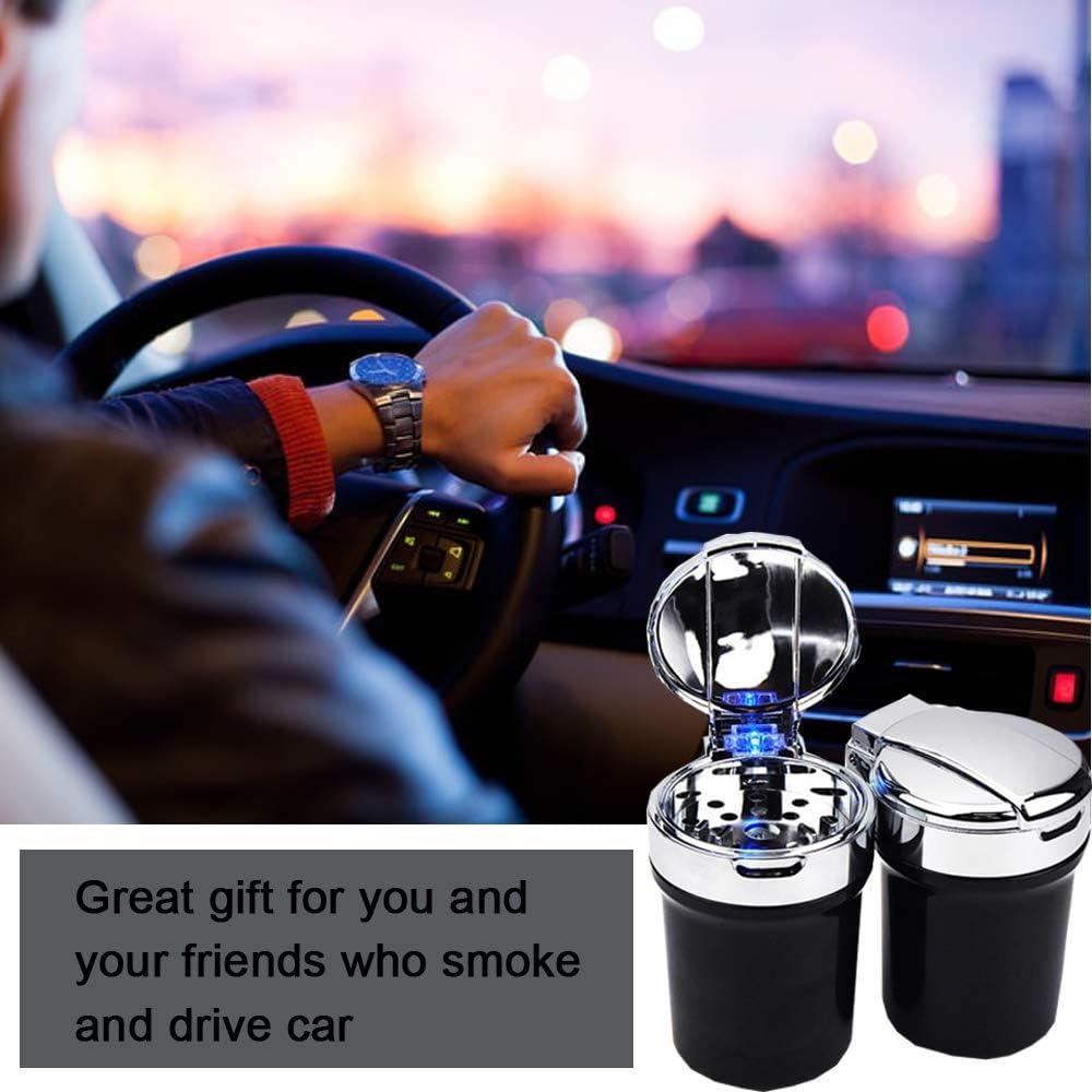 Auto Aschenbecher Rauchfreie Zigaretten Aschenbecher Tragbare Auto Zylinder Getr/änkehalter mit Deckel und LED Licht