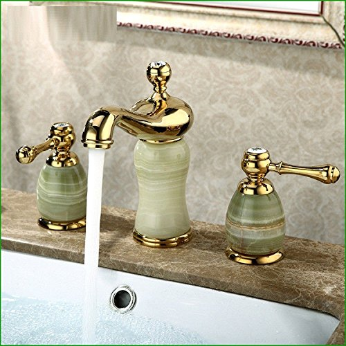 (Gyps Faucet Basin Mixer Tap All Copper Natural Brass gold plated three-hole faucet hot and cold split wash basin kitchen triple-tap,Modern Bath Mixer Tap Bathroom Tub Lever Faucet )