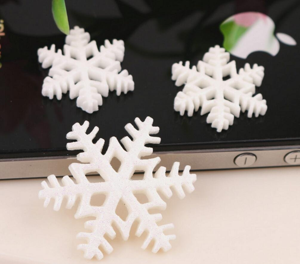 Kingwin 20PCS mini fiocco di neve in resina resina DIY Craft accessori 31mm (bianco)