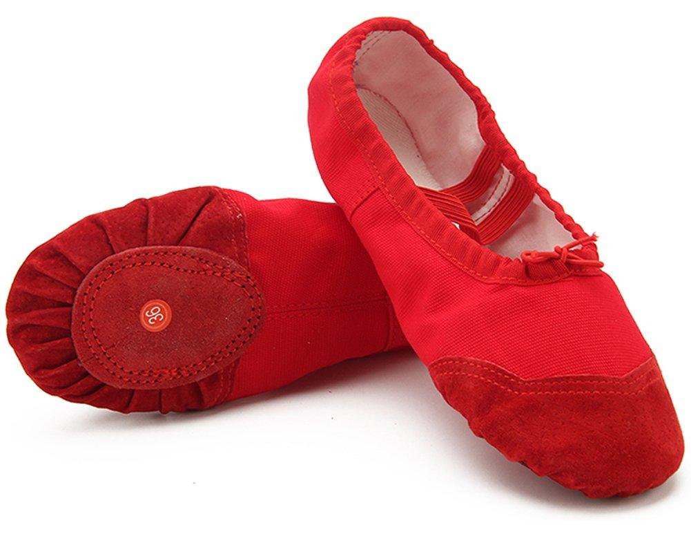 Dreamone Chaussures de Chaussures Ballet Fille Classique Chaussures Femme de Ballet Danse Gymnastique Yoga Ballerines Chaussons Femme Rouge a05722c - deadsea.space