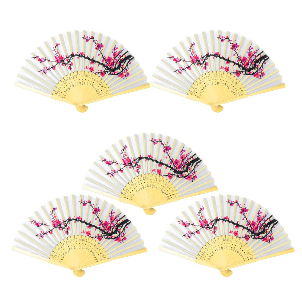 Onepine 5pcs Folding Fan Delicate Cherry Blossom Design Silk Folding Fan Bamboo Handheld Folded Fan Girls, Ladies, Church Wedding Gift, Party Favors, DIY Decoration