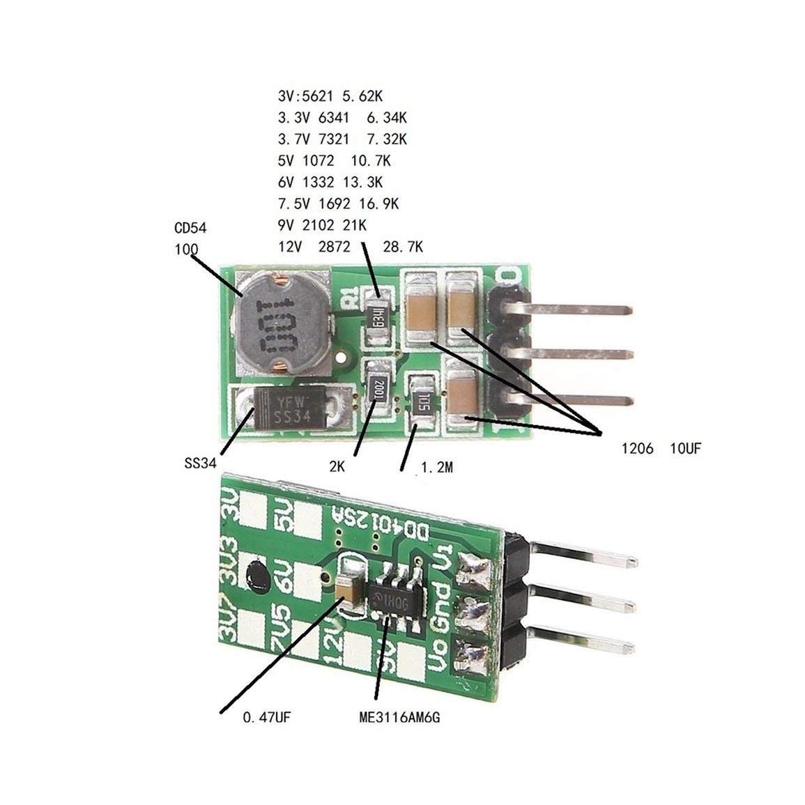 Mini 1A DC-DC Buck Convertisseur abaisseur Module 5-40V /à 3V 3.3V 3.7V 5V 6V 7.5V 9V 12V r/égulateur de Tension