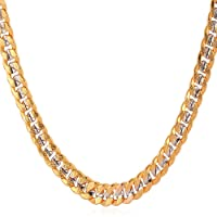 Two Tone Gold Plated Necklace Copper Based Yellow Gold & Platinum Plated Cuban Chain For Men, 18''-30''