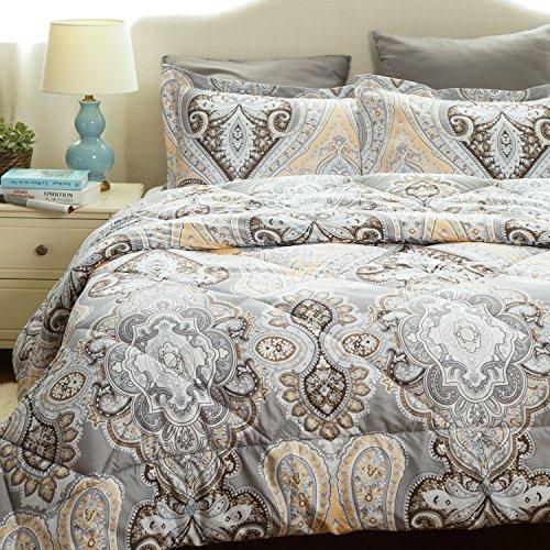 Twin 7 Piece (Twin Comforter Set Classics Grey Paisley Design Down Alternative Comforter 2 Piece (1 Comforter + 1 Pillow Sham)(68