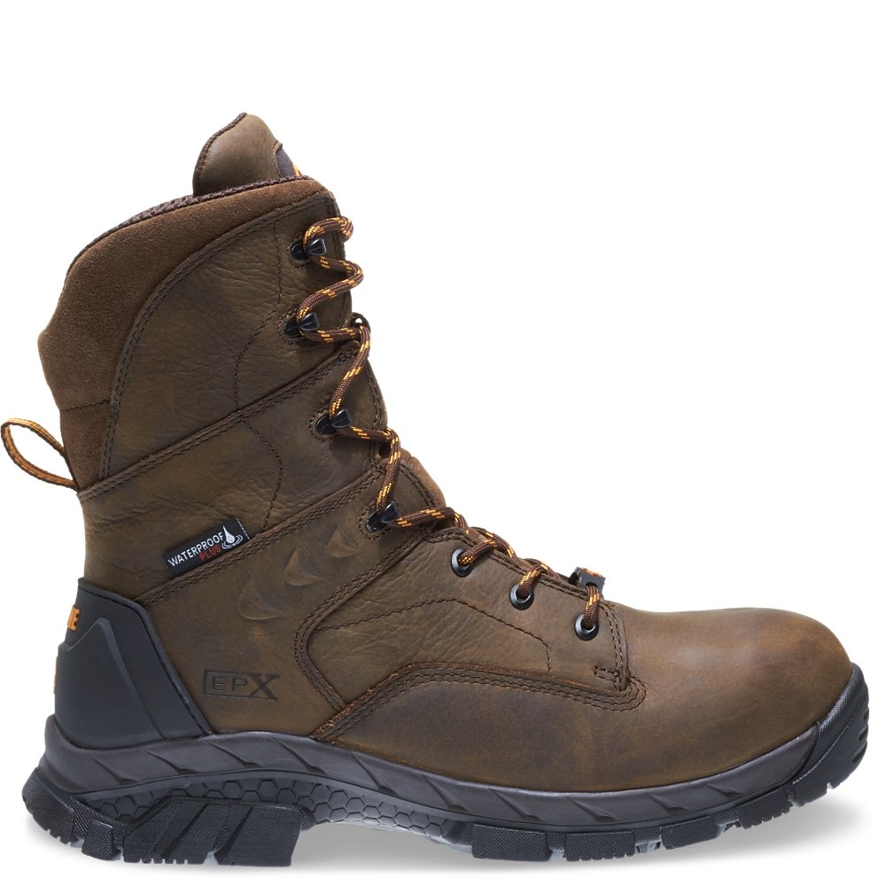 Wolverine Men's Glacier Ice Insulated Waterproof 8'' Comp Toe Work Boot, Summer Brown, 9 W US