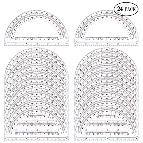 24 Pack Protractors Esee Plastic Protractor for School Teachers and Students, 6 Inch Math Clear Protractor by ESEE (Image #5)