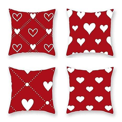 ASQWDC Funda de cojín Rojo Patrón de Amor Funda de Almohada ...