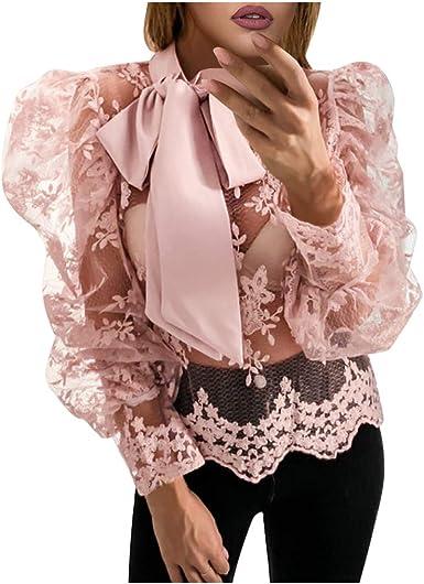 TAOtTAO Fashion - Blusa de encaje para mujer Negro rosa M: Amazon.es: Ropa y accesorios