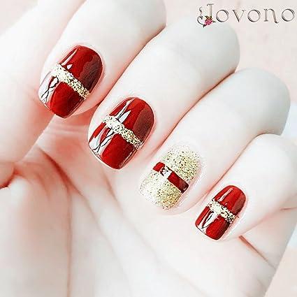 jovono Full postizas corto falso uñas para las mujeres y las ...