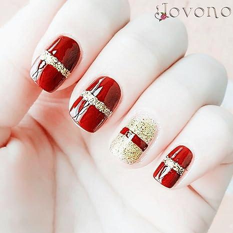 jovono Full postizas corto falso uñas para las mujeres y las niñas (blanco + negro