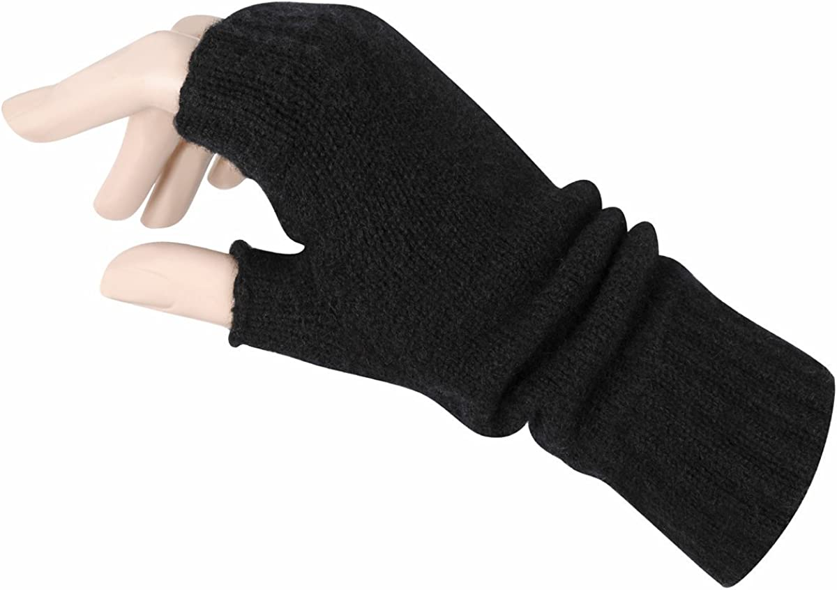 Women's Fingerless Mitts Pure Cashmere Made in Scotland (Black) at  Women's Clothing store: Cold Weather Fingerless Gloves