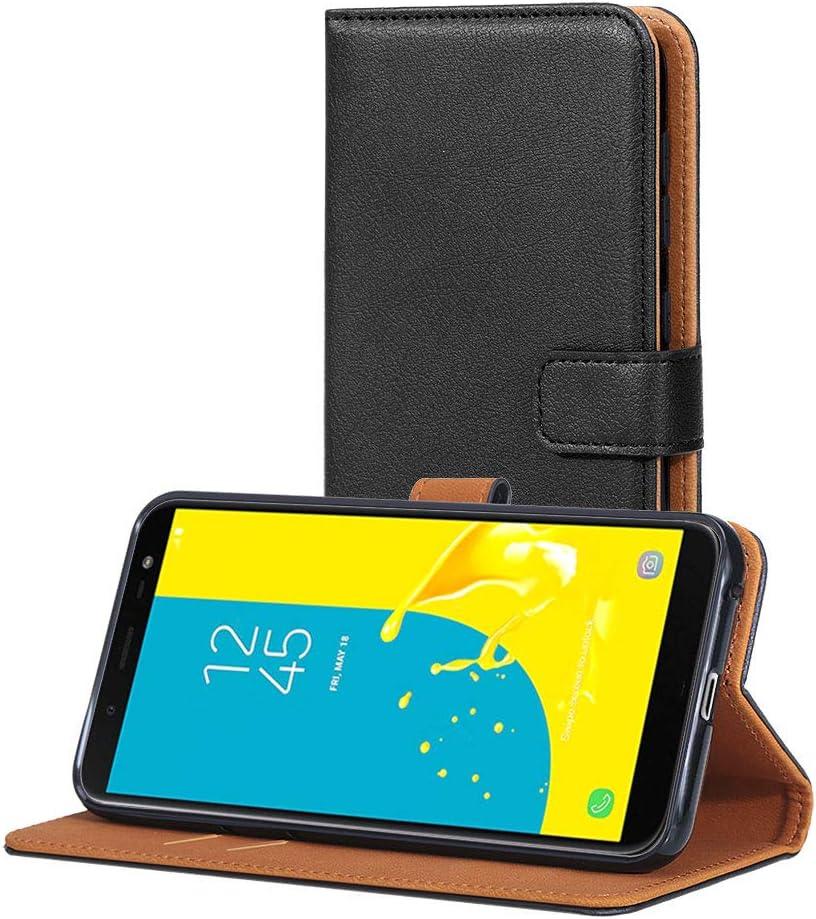 AICEK Funda Compatible Samsung Galaxy J6, Cuero PU Funda para Samsung Galaxy J6 Libro Carcasa Case Cierre Magnético Ranuras para Tarjetas Negro (5,6 Pulgadas)