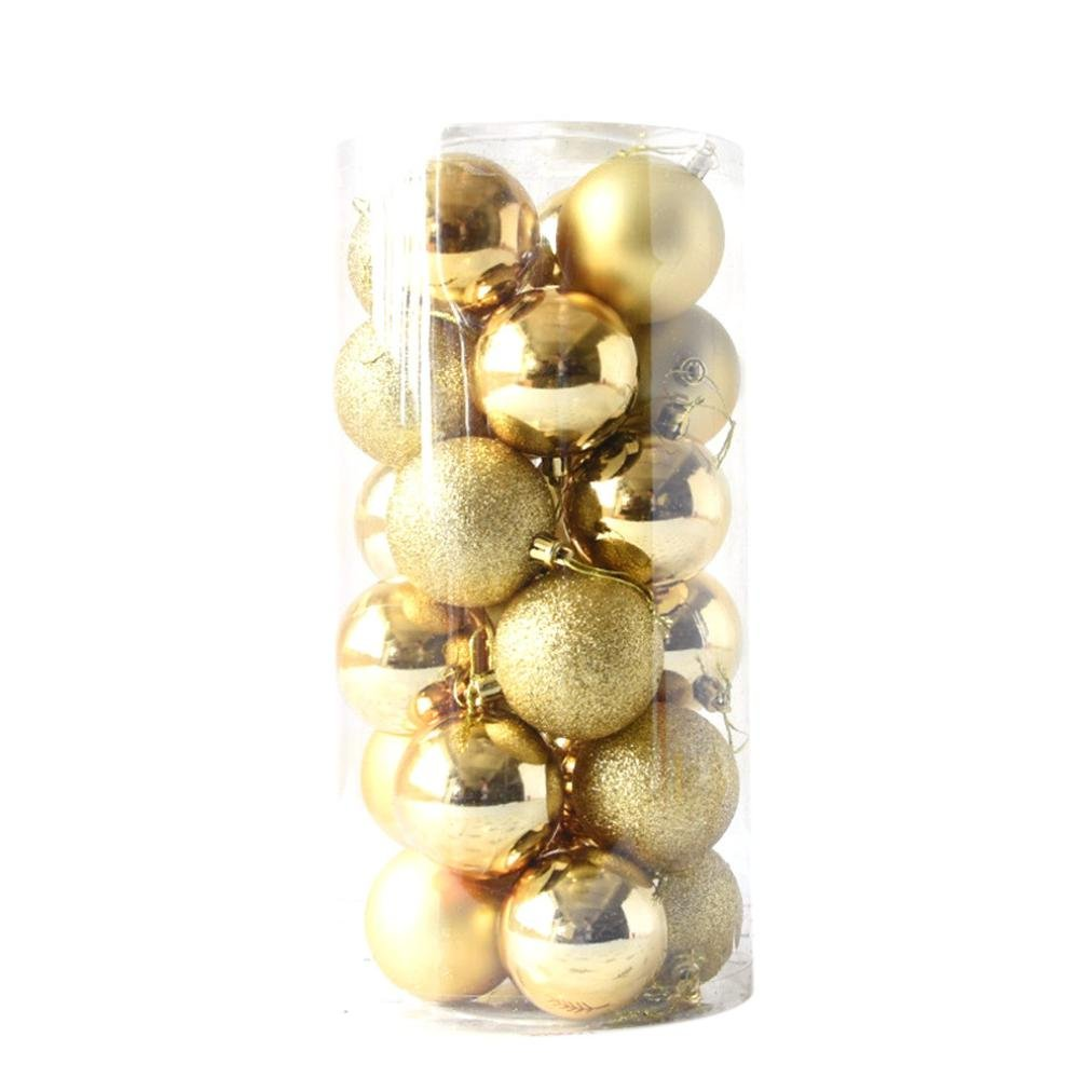 Bokeley 24ct 40mm/60mm/80mm Christmas Ball Ornaments Shatterproof Pendant Seasonal Decorations Tree Balls for Holiday Wedding Party Decoration, Tree Ornaments (80mm, Gold)