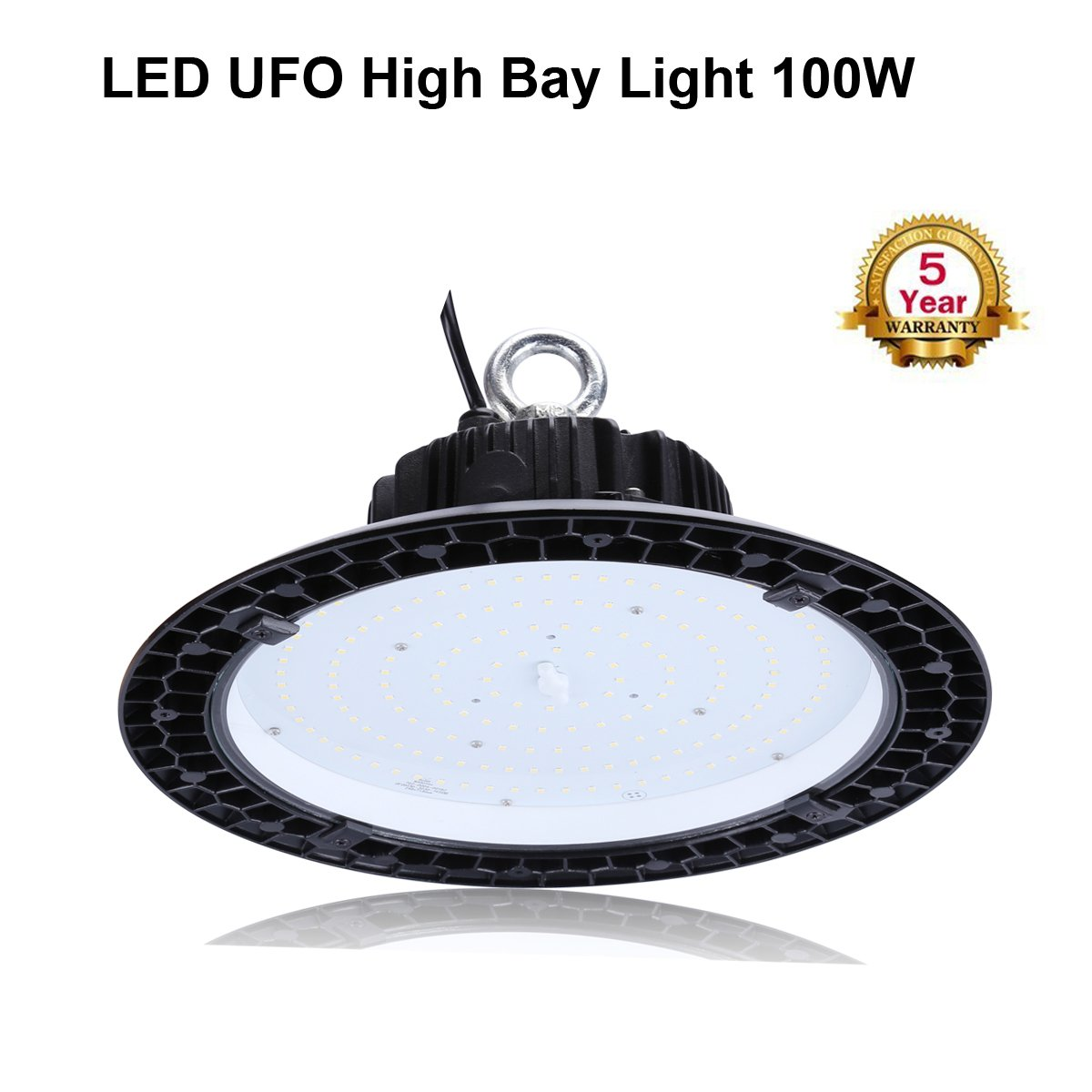 UFO LED High Bay Light,100W (400W HID/HPS Replacement) AC 100-277V,13000LM,5000K Bright White, IP65 Waterproof Commercial Grade Area Warehouse Workshop Hanging Lighting Fixtures by FALANFA