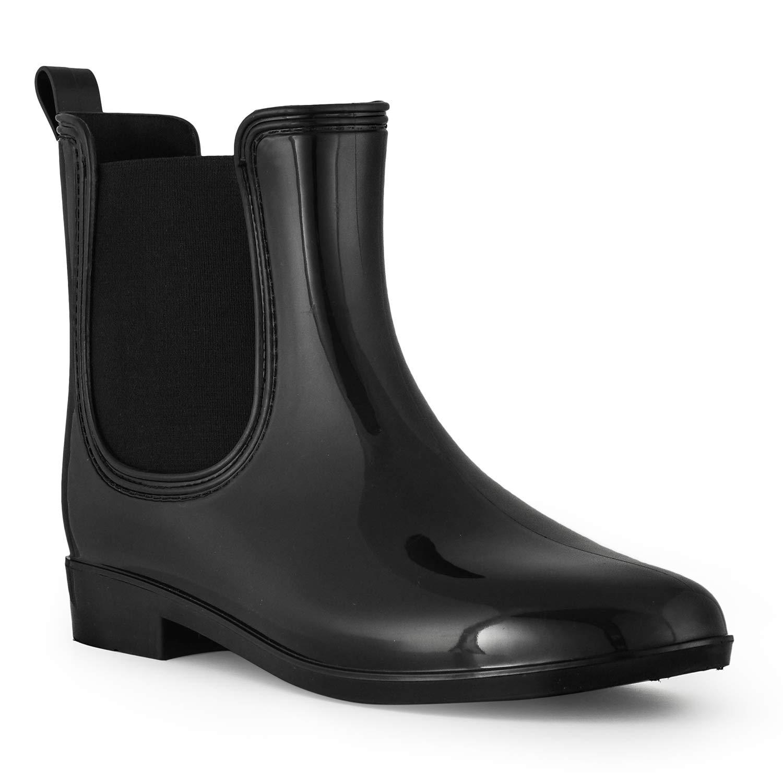 Lara's Women's Rain Boots Waterproof Ankle High Chelsea Style Black US Size 9