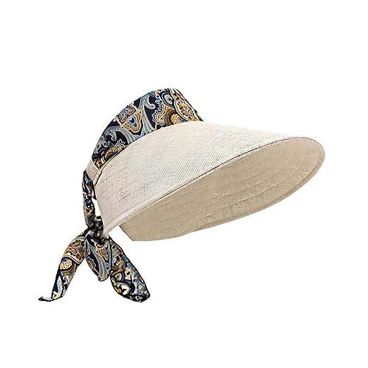 DVANIS Women s Wide Brim Roll-up Straw Sun Visor Packable Foldable ... 0345e88ded4
