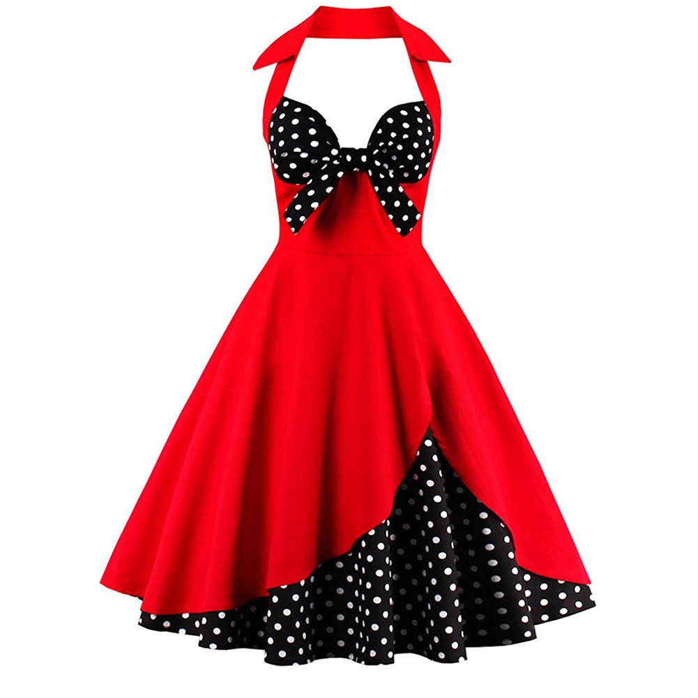 Ladyjiao Women's Vintage 1950's Sleeveless Spring Garden Party Picnic Dress Party Cocktail Dress Red&white L