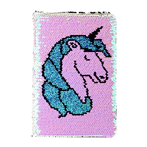 Sequin Notebook - PojoTech Mermaid Reversible Sequin Journal - Magic Travel Journal Notebook Gift for Adults and Kids (Unicorn)
