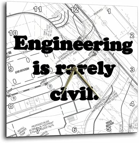3dRose dpp_149859_2 Engineering is Rarely Civil. Civil Engineer Wall Clock, 13 by 13-Inch