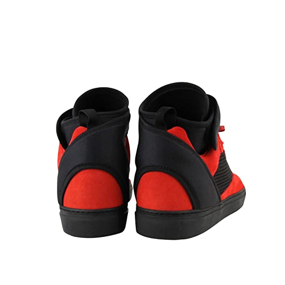 32585105e87 Amazon.com | Balenciaga High Top Black/Red Suede Leather Sneakers 412349  6561 | Fashion Sneakers