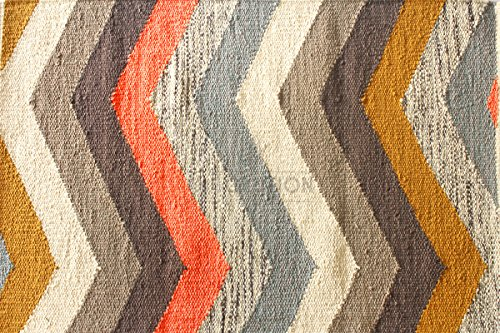 Multi Chevron Stripe Rug by Nate Berkus. Handcrafted 2'x3' / 60x90 cm Multicolor Chevron/Zig-Zag Pattern Rug/Mat, Style: - Stripe Chevron Cotton
