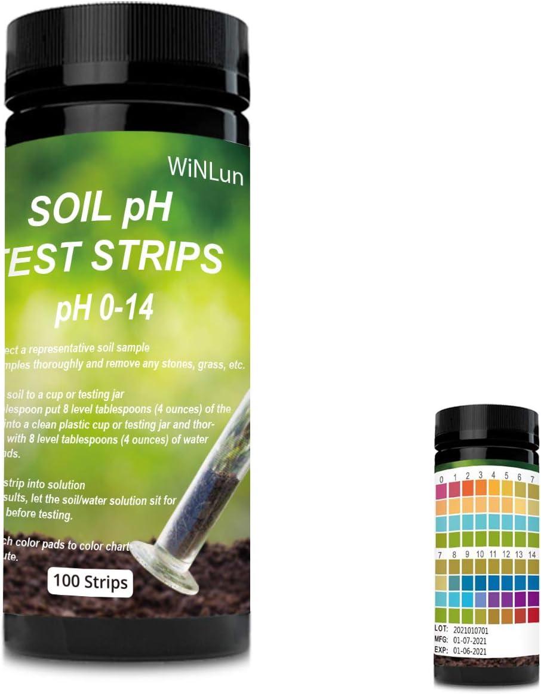 EODO Soil Test Paper,Soil pH Test kit,100 Tests Soil PH Strips,Test Strips for Soil,Gardening Tool Kits for Plant Care,Home and Garden,pH Strips for Testing Soil