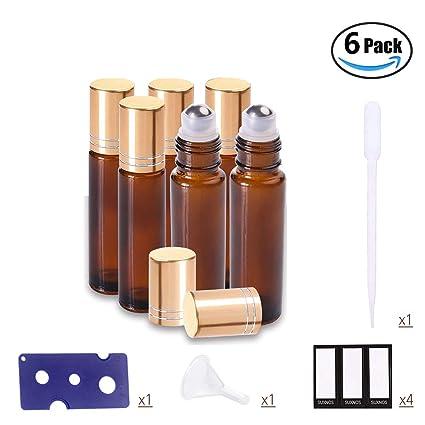 SUXNOS Botellas de rodillos de aceites esenciales Botellas de vidrio de color ámbar marrón Bolas de