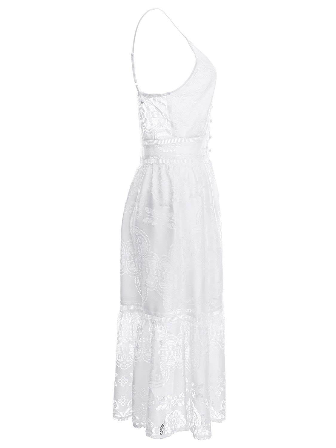 480e760e2376 Simplee Apparel Women s Summer Party Sexy Deep V Neck Backless Lace Dress  White at Amazon Women s Clothing store