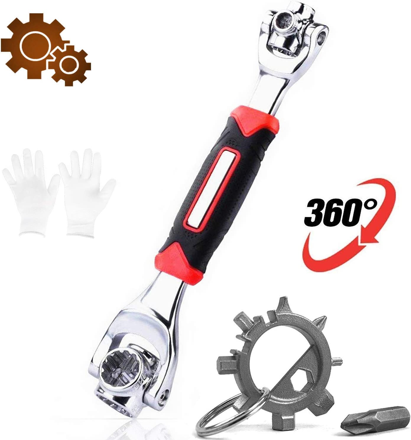 HUOFSE Universal Wrench 48 in 1 Socket Wrench Multifunction Wrench Tool 360 Degree Rotating Head, with a Portable Multi-Tool, Spanner Tool for Home and Car Repair