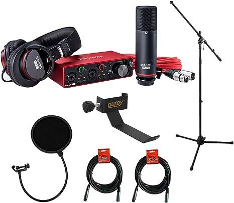 Focusrite Scarlett 2i2 Studio 3ª generación 2 pulgadas, 2 salidas interfaz de audio USB con micrófono y auriculares, trípode para micrófono + boom, soporte para auriculares, filtro pop y 2 cables XLR: