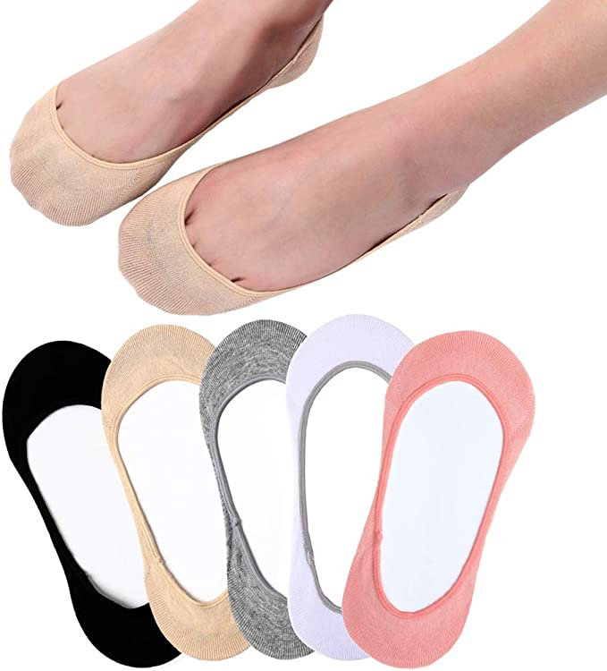 5 Pairs Men//Women Cotton Invisible Loafer Boat Liner Low Cut No Show Socks Solid
