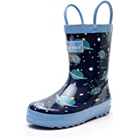 Ahannie Kids Natural Waterproof Rubber Rain Boots with Easy-On Handles & Arch Support in Fun Patterns for Boys and Girls(Toddler/Little Kid)