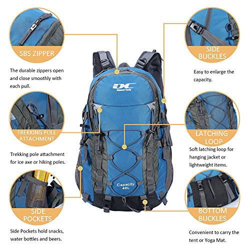 Diamond Candy Hiking Backpack 40L Waterproof Outdoor Lightweight Travel Backpacks for Men and Women with Rain Cover, Bag for Mountaineering Camping Climbing Cycling Fishing (Blue) by Diamond Candy (Image #2)