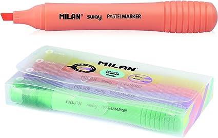 Pack 4 marcadores flúor pastel Milan: Amazon.es: Oficina y papelería