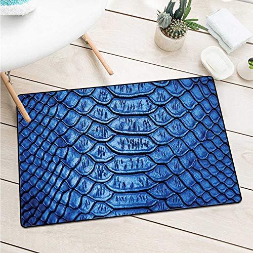 Wang Hai Chuan Animal Print Commercial Grade Entrance mat Vivid Colored Realistic Snake Reptile Skin Pattern Alligator in Blue Artwork Print Machine Washable Door mat W15.7 x L23.6 Inch Blue