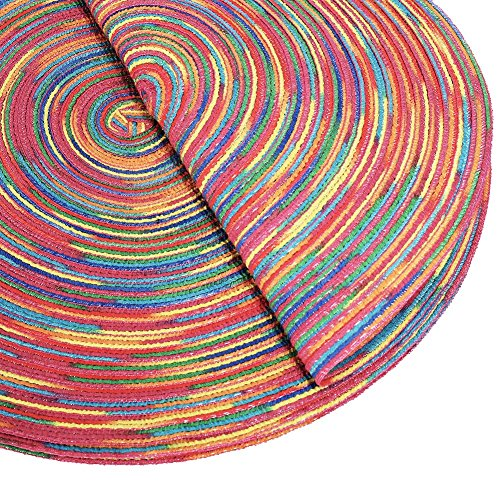 Woven Braided Colorful Round Placemats Heat Resistant Dining Table Mats Non-slip Washable Place Mats Set of 6 by DOZZZ (Image #3)