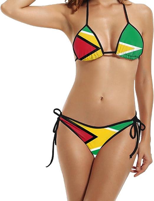 UUDNSA Mujer Guyana Banderas de países Elegante Bikini Bañador para Verano Playa Traje de baño Push up brasileño Traje de 2 Piezas: Amazon.es: Jardín