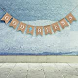 Arts & Crafts : God Bless Baptism Banner by WATINC,Communion Party Banner,Christening Decoration for Wedding, Baby Shower Party(blue)