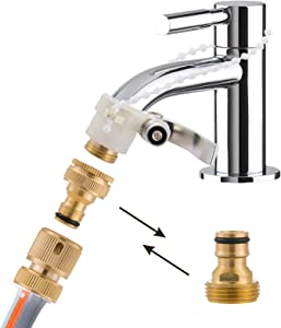 Garden Hose Quick Connectors Kit- 3/4 Inch GHT Solid Brass Water Hose Fitting, 3/4 Inch GHT Female & Male Thread No-Leak Easy Connector, Lock Type Connector with Valve Adapter Set and 4 Black Washers
