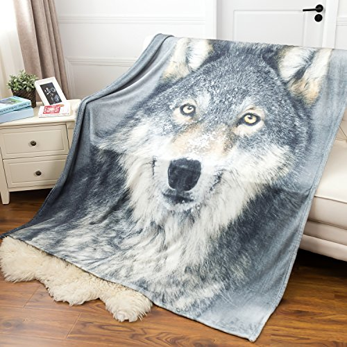 Painted Twin Size Bed (Grey Wolf Printed Throw Blanket - Luxury Flannel Fleece Throw Fuzzy Animal Blanket 50