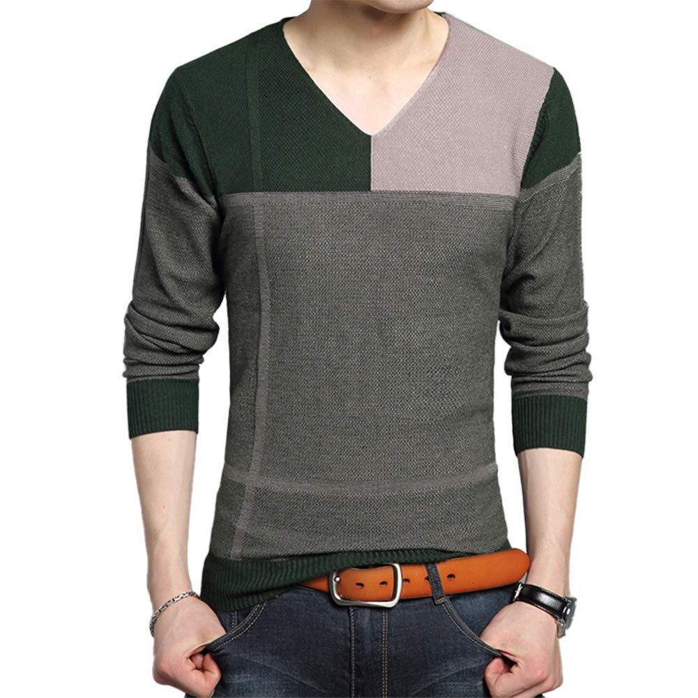 AIEOE Men's Pullover Knit Sweater 2018 V Neck Slim Pullover T-Shirt Warm Soild Teens Boys Classic Soft Cotton Wool Tops Green XXL